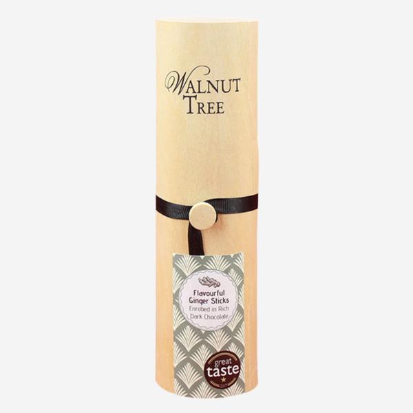 Crystallised stem ginger sticks enrobed in dark chocolate
